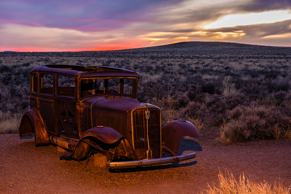 Abandoned old timer auto wreck somewhere on U.S. Route 66