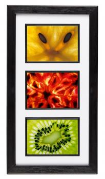 Colorful close-up images of tropical fruits. Three openings framing recommended.