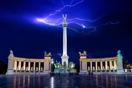 Lightning over Heroes Square in Budapest